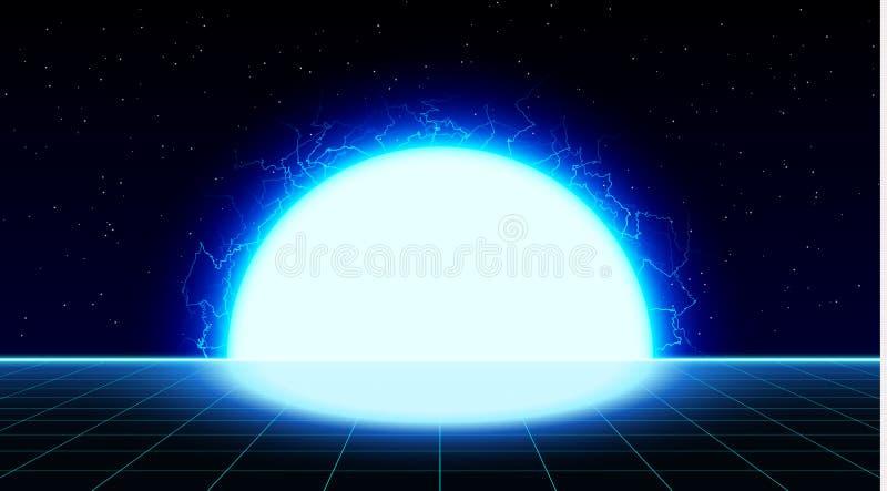 Retrowave synthwave vaporwave bright blue laser grid landscape with big electric sun in space. Retrofuturistic sunset stock illustration