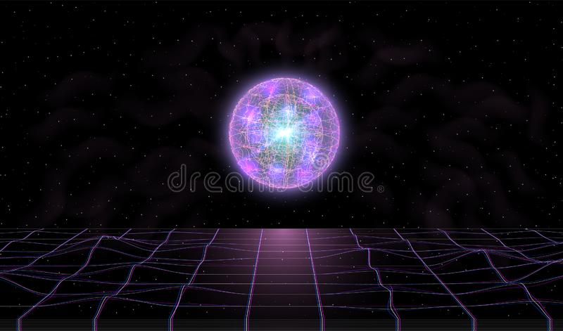 Retrowave synthwave vaporwave landscape in space with laser grid and cool fantastic glowing sphere with smoke above the royalty free illustration