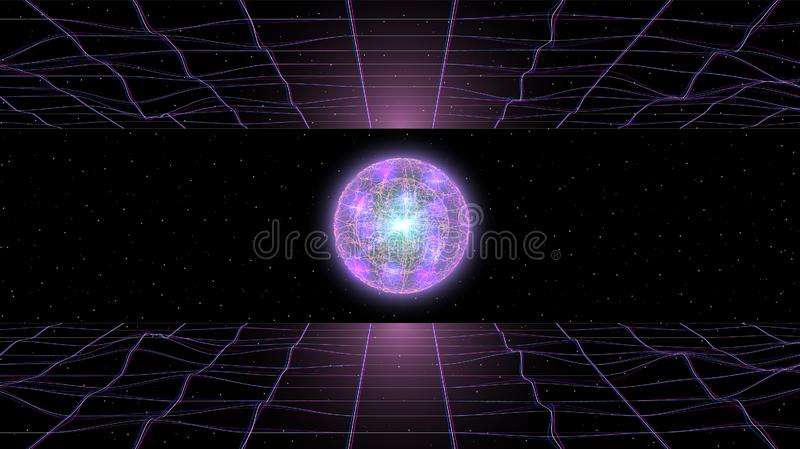 Retrowave synthwave vaporwave landscape in space between two laser grids and cool fantastic glowing sphere above the stock illustration