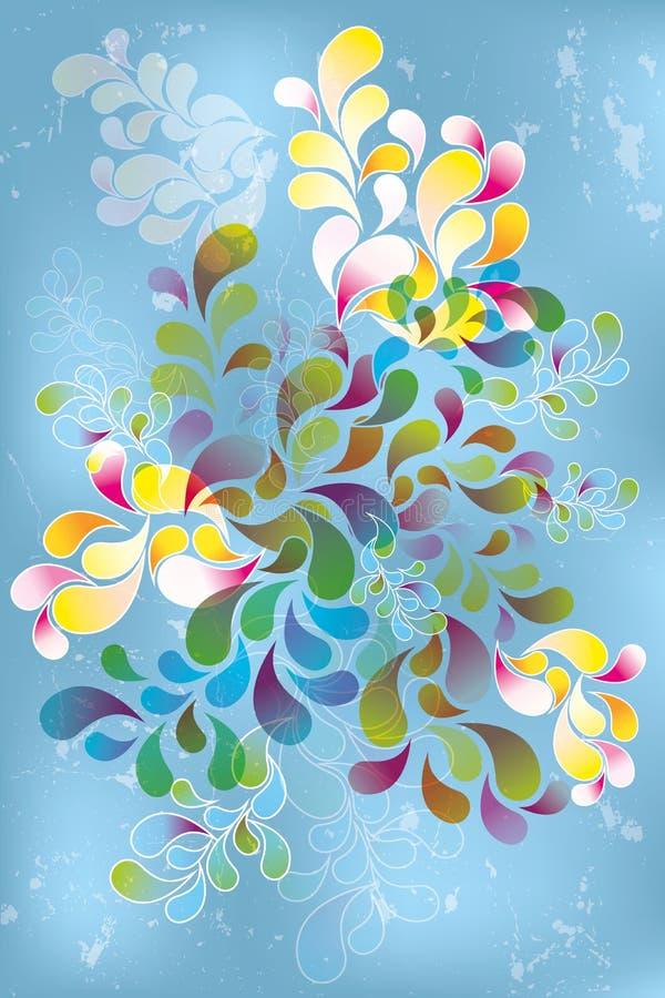 Retrowirbel in Regenbogenfarben mit unterschiedlicher Deckkraft auf hellblauem Hintergrund vektor abbildung