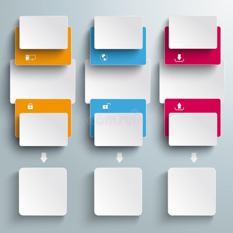 Rettangoli colorati a batch tre opzioni aperte PiAd illustrazione di stock