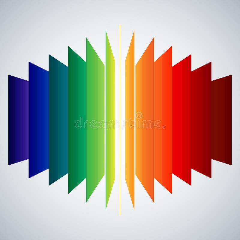 Rettangoli dell'estratto dell'arcobaleno di prospettiva su bianco illustrazione di stock