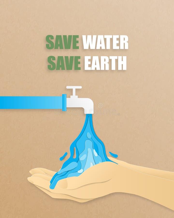 Retten Sie das Wasser und retten Sie das Erdkonzept Vector illustriert das Wasser, das aus dem Rohr in Papierform fließt Digitale stock abbildung