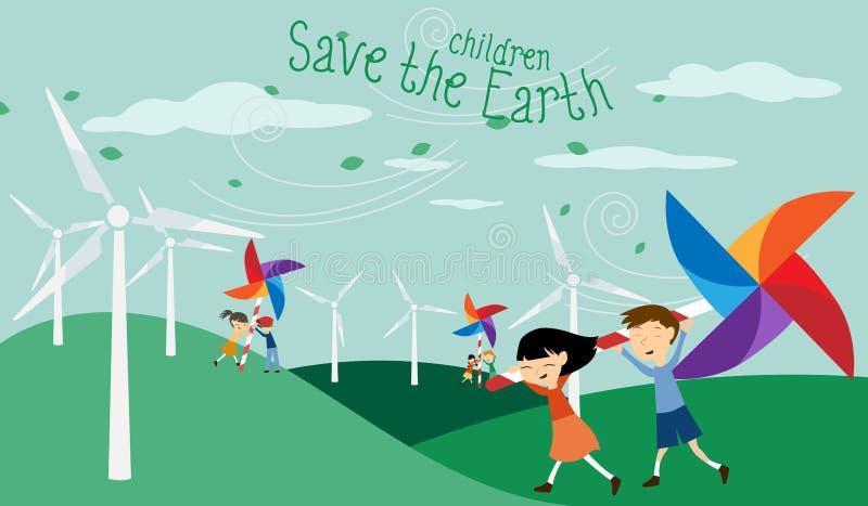 Retten Sie die Erde - grüne Energie für Kinder stock abbildung