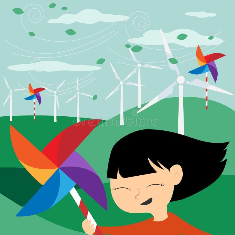 Retten Sie die Erde - grüne Energie für Kinder - Illustration mit e lizenzfreie abbildung