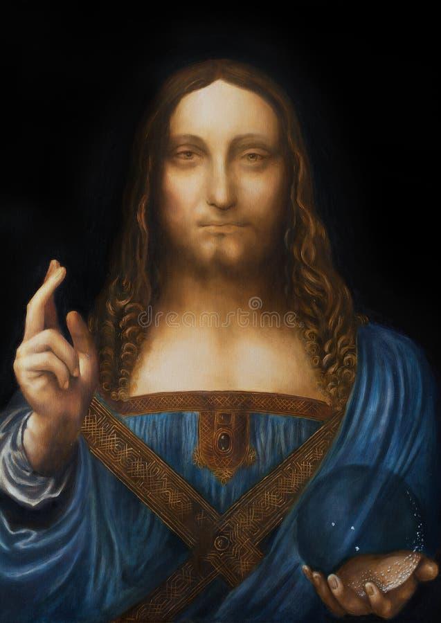 Retter der Welt Salvador-mundi Meine eigene Wiedergabe von Leonardo DaVinci-Malerei lizenzfreies stockbild