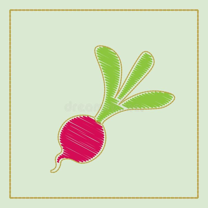 rettich Lokalisierter Gegenstand, Logo Gemüse vom Bauernhof Biologisches Lebensmittel Auch im corel abgehobenen Betrag lizenzfreie abbildung
