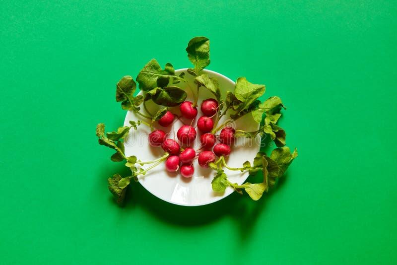 Rettiche gruppiert in einer weißen Platte angesehen von oben Flacher Lagegrünhintergrund stockbild