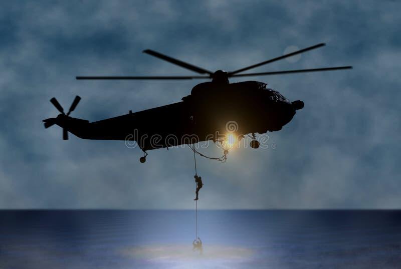 Rettung der Person in Meer durch Hubschrauber stock abbildung