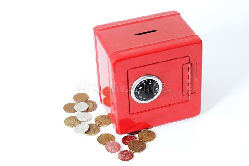 Rettungsgeld in einem roten Geldkasten stockbilder