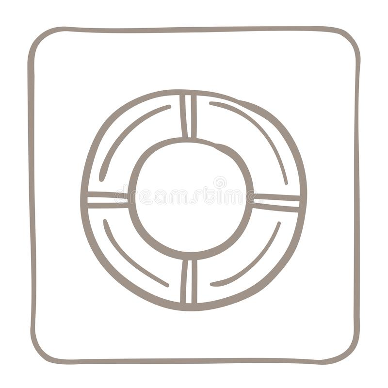 Rettungsring-Ikone in einem hellbraunen Rahmen Entwerfer Evgeniy Kotelevskiy lizenzfreie abbildung