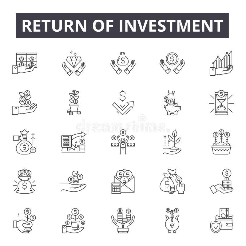 Retur av investeringlinjen symboler, tecken, vektoruppsättning, linjärt begrepp, översiktsillustration royaltyfri illustrationer