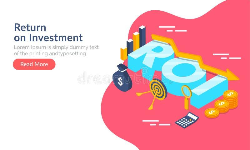 Retur på för rengöringsdukmall för investering (ROI) den begrepp baserade designen, 3d stock illustrationer