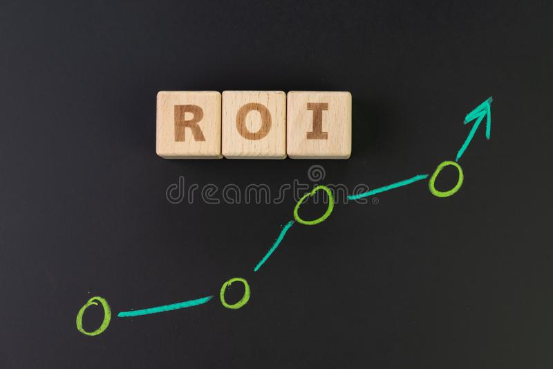 Retur på investeringen, ROI, effic kapacitetsmått av affären arkivfoto