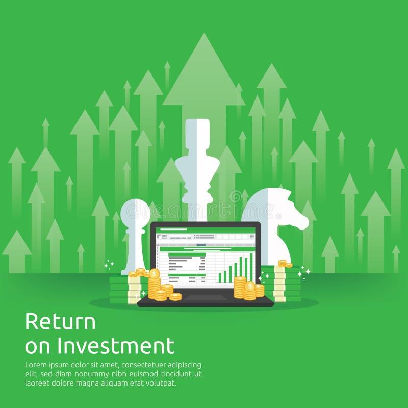Retur på investeringROI-begrepp affärstillväxtpilar till framgång mynt för dollarbunthög och pengarpåse diagramförhöjningvinst stock illustrationer