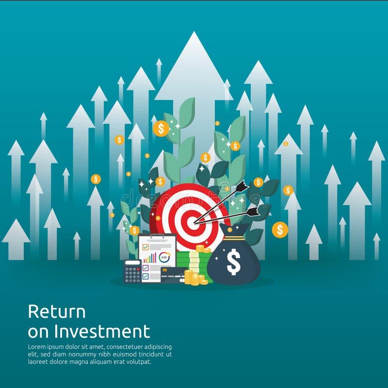 Retur på investeringROI-begrepp affärstillväxtpilar till framgång mynt för dollarbunthög och pengarpåse diagramförhöjningvinst royaltyfri illustrationer
