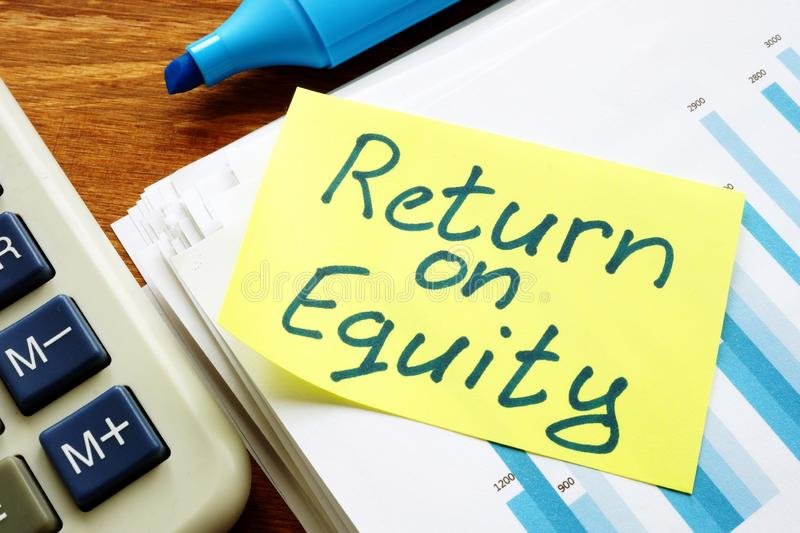 Return on equity inscription and pile of business documents. Return on equity inscription and pile of business papers royalty free stock photo