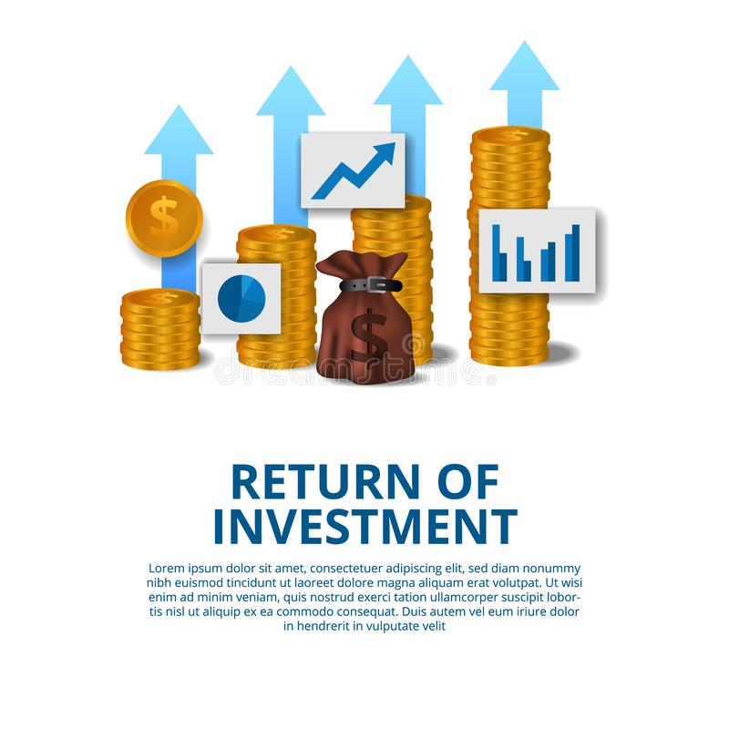 Return of investment concept business finance growth arrow success stock illustration