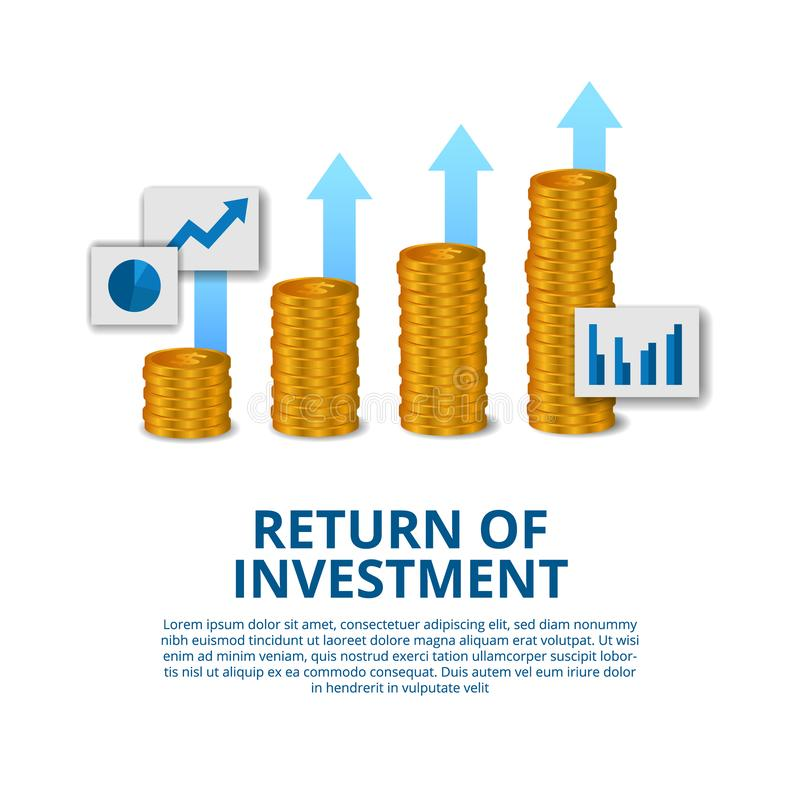 Return of investment concept business finance growth arrow success vector illustration