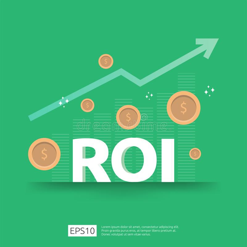 Return on investment concept. business growth arrows to success. ROI text with grow dollar coins plant. chart increase profit. stock illustration