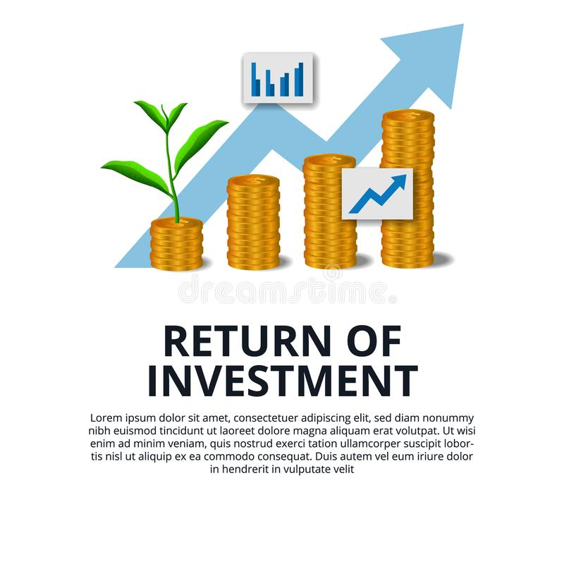 Return of Investment growth investing stock market golden coin dollar and plant tree grow arrow success stock illustration