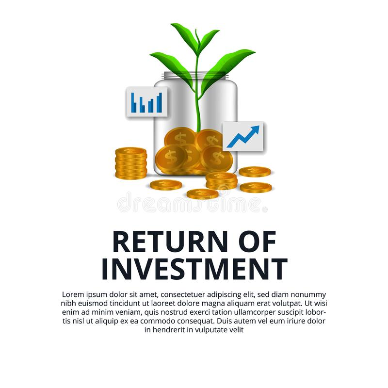 Return of Investment growth investing stock market golden coin dollar and plant tree grow in the glass bottle stock illustration