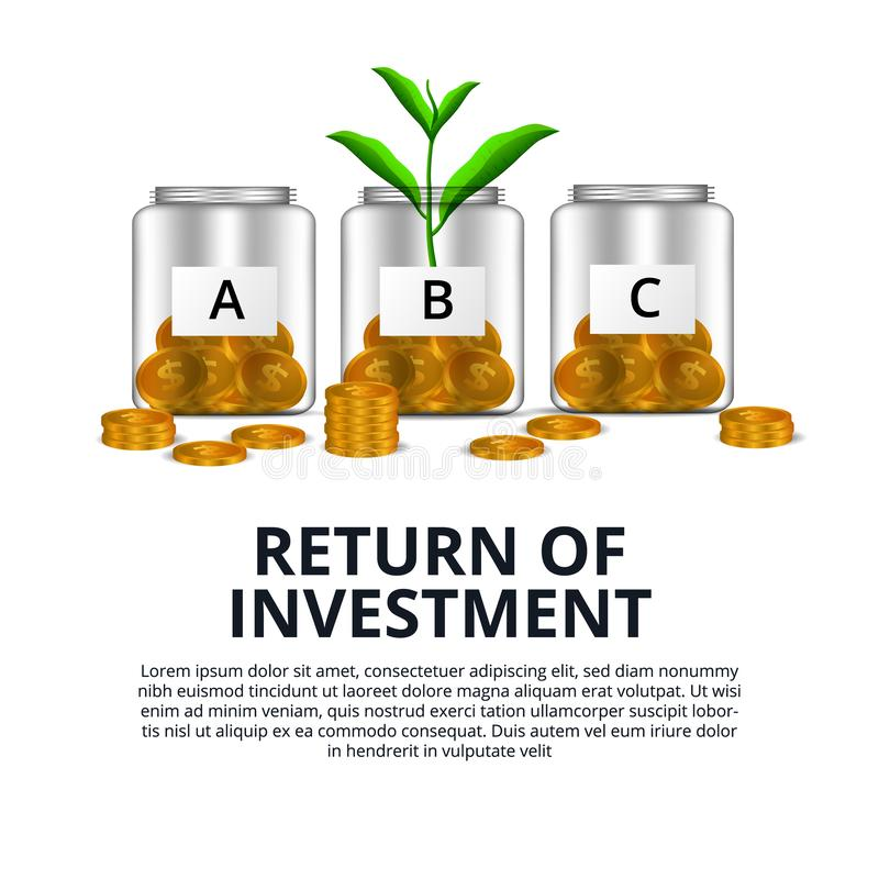 Return of Investment growth investing stock market golden coin dollar and plant tree grow in the glass bottle vector illustration