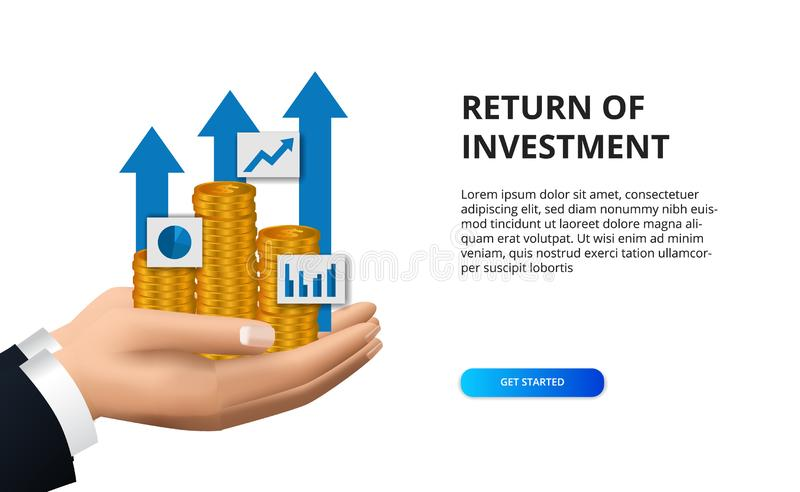 Return of investment growth success arrow with hand holding golden coin for finance vector illustration