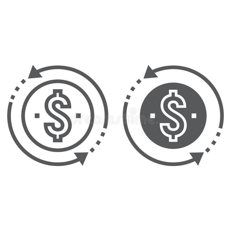 Return on investment line and glyph icon stock illustration
