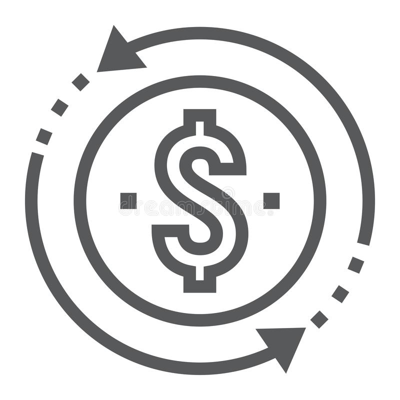 Return on investment line icon, development vector illustration