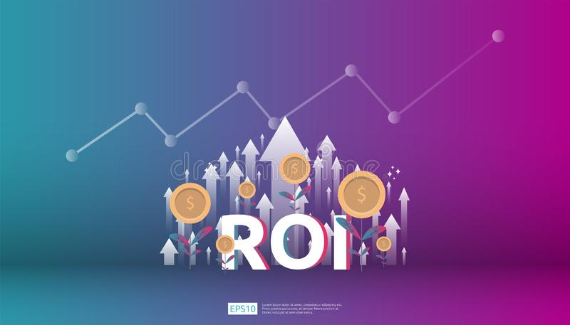 Return on investment, profit opportunity concept. business growth arrows to success. ROI text with success arrow graph chart. Increase and grow dollar coins vector illustration