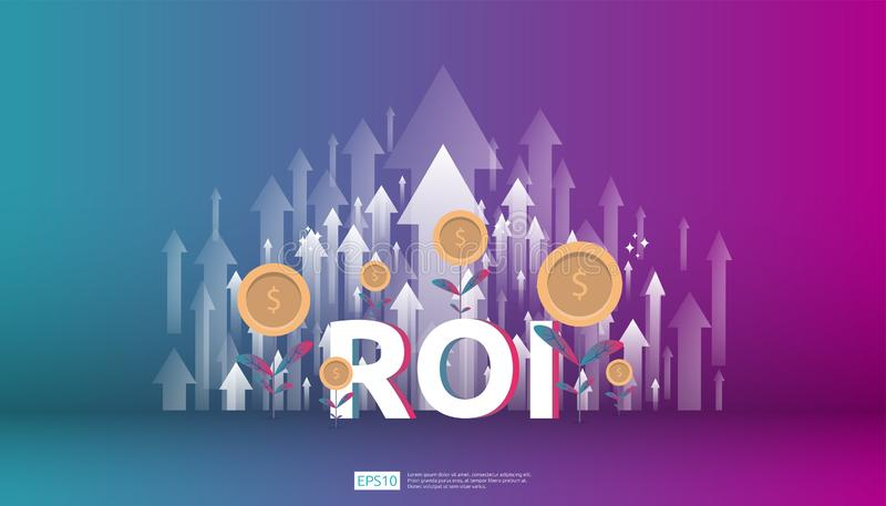 Return on investment, profit opportunity concept. business growth arrows to success. ROI text with success arrow graph chart. Increase and grow dollar coins royalty free illustration