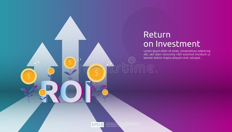 Return on investment, profit opportunity concept. business growth arrows to success. ROI text with success arrow graph chart. Increase and grow dollar coins stock illustration