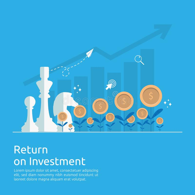Return on investment ROI concept. business growth arrows to success increase profit. Finance stretching rising up. market vector illustration
