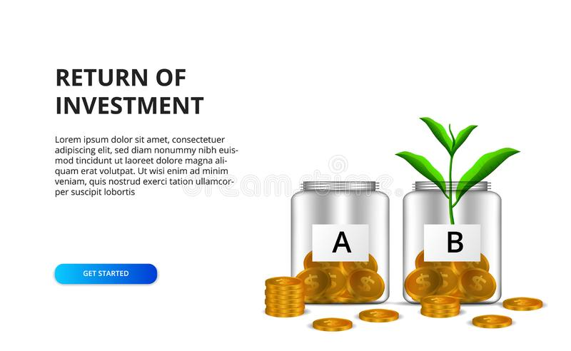 Return of investment ROI concept with illustration of money management glass bottle and golden coin and tree leaves plant vector illustration