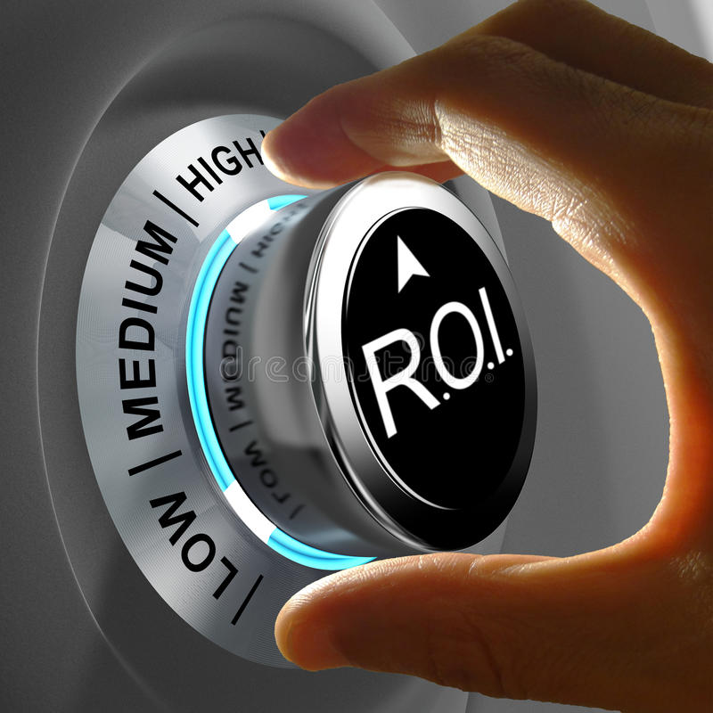 Return of investment (ROI) is the gains compared to the cost. This illustration concept shows the level of ROI. Return of investment is the gains compared to the