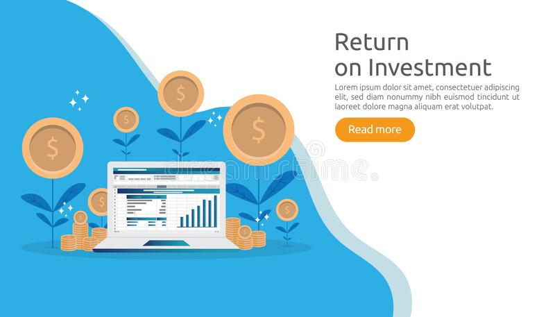 return investment ROI or growth business finance concept. increase profit stretching rising up. flat style vector illustration of stock illustration