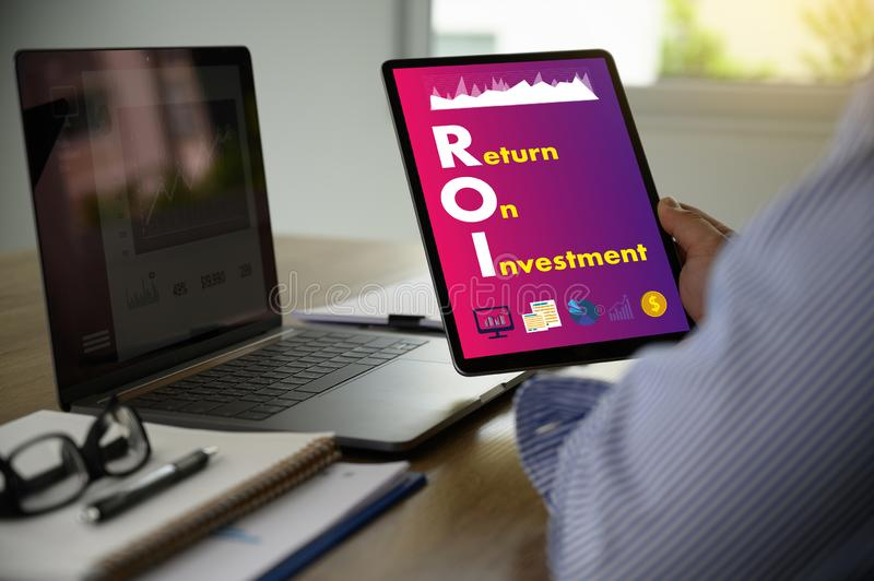Return on Investment, ROI man Analysis  financial growth concept. D royalty free stock photography