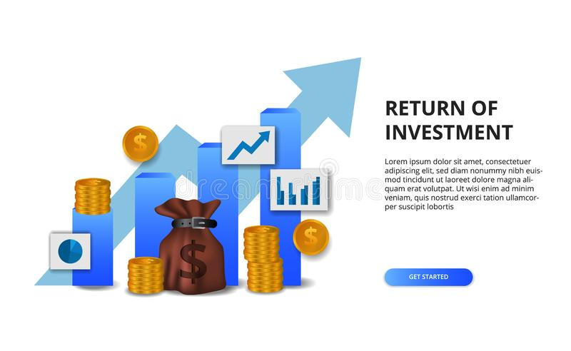 Return on investment ROI, profit opportunity concept. business finance growth to success. bar chart presentation concept with. Arrow and 3D golden coin and stock illustration