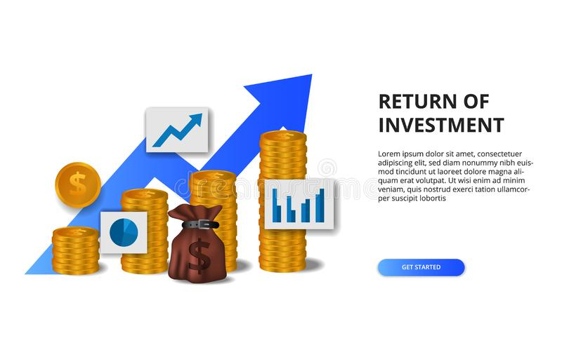 Return on investment ROI, profit opportunity concept. business finance growth to success. 3D golden coin arrow chart illustration. Return on investment ROI vector illustration