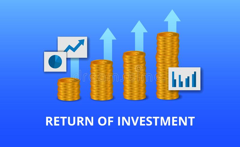 Return on investment ROI, profit opportunity concept. business finance growth to success. golden coin arrow chart. Return on investment ROI, profit opportunity stock illustration