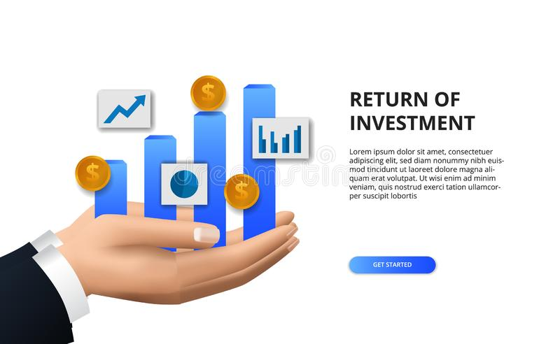 Return on investment ROI, profit opportunity concept. business finance growth to success. hand holding bar chart info graphic. With 3D golden coin royalty free illustration