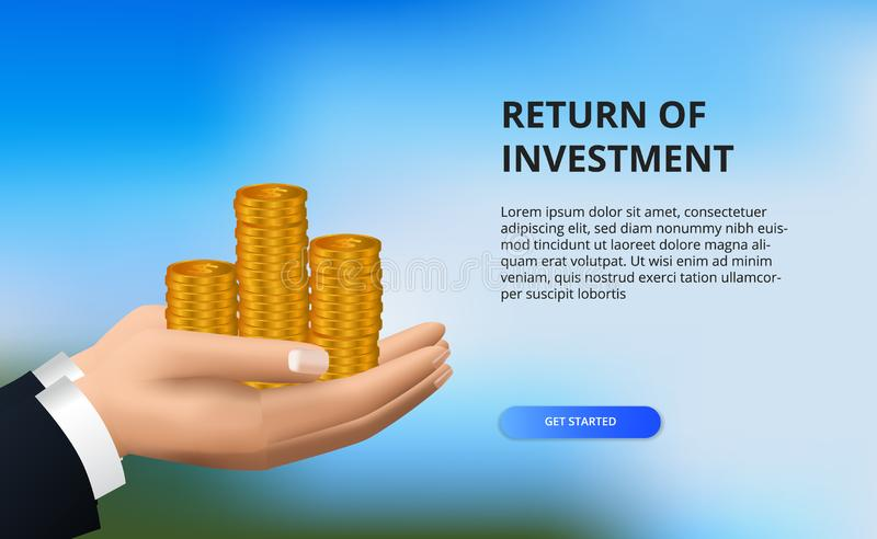 Return on investment ROI, profit opportunity concept. business finance growth to success. hand holding golden coin. With bokeh background vector illustration