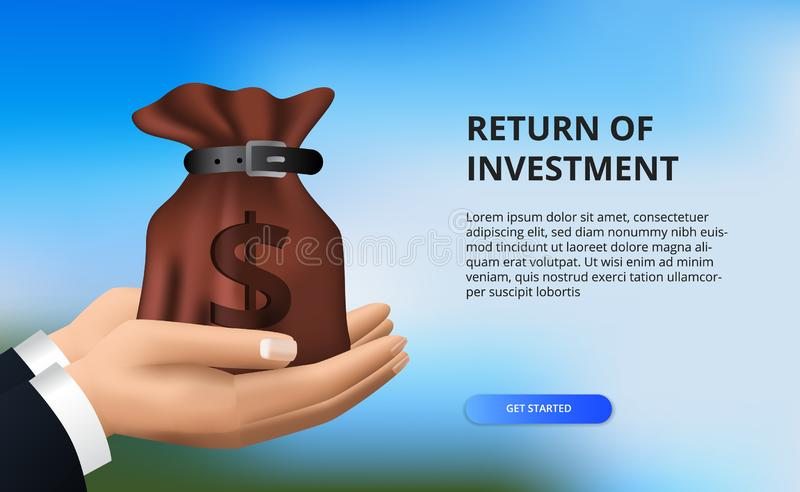Return on investment ROI, profit opportunity concept. business finance growth to success. hand holding money bag. With bokeh background vector illustration