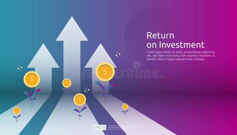 Return on investment ROI, profit opportunity concept. business growth arrows to success. arrow with dollar plant coins, graph and. Chart increase. business royalty free illustration