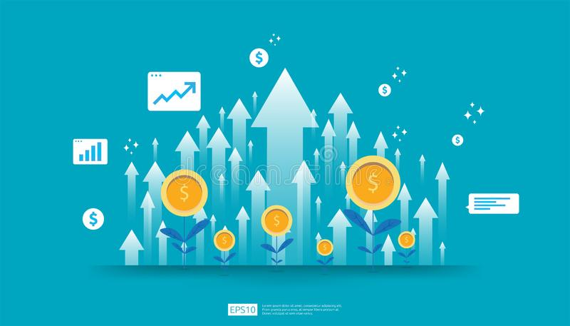 Return on investment ROI, profit opportunity concept. business growth arrows to success. arrow with dollar plant coins, graph and royalty free illustration