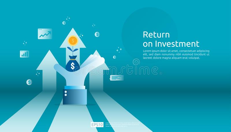 Return on investment ROI, profit opportunity concept. business growth arrows to success. grow dollar coin plant money bag on big. Investor hand with increase vector illustration