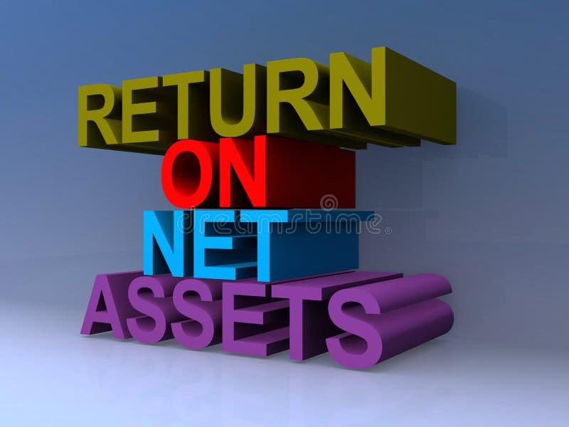 Return on net assets. On blue stock illustration