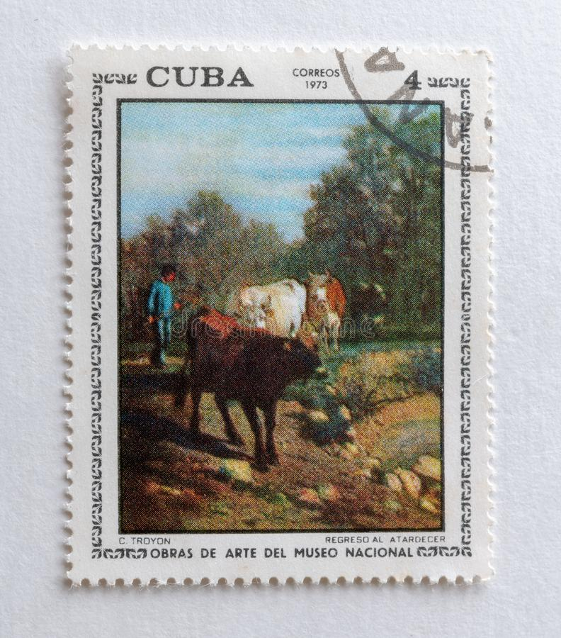 `Return at Sunset`, antique postage stamp, Cuba royalty free stock photo