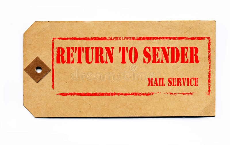Return to sender. Grunge style on a 1930s tag. royalty free stock image